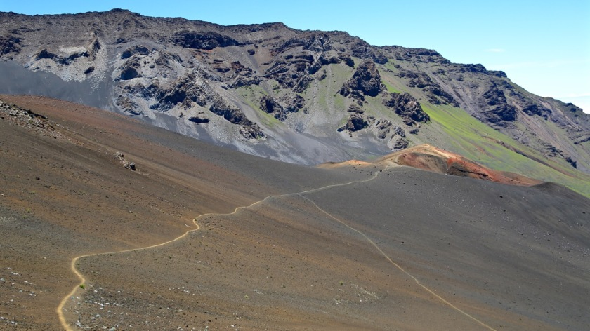 Hiking trails on the Haleakala volcano, Maui, Hawaii