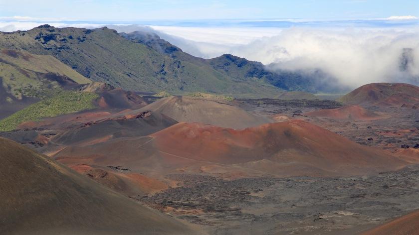 Orographic rain cloud rolls into the Haleakala volcanic crater, Maui, Hawaii