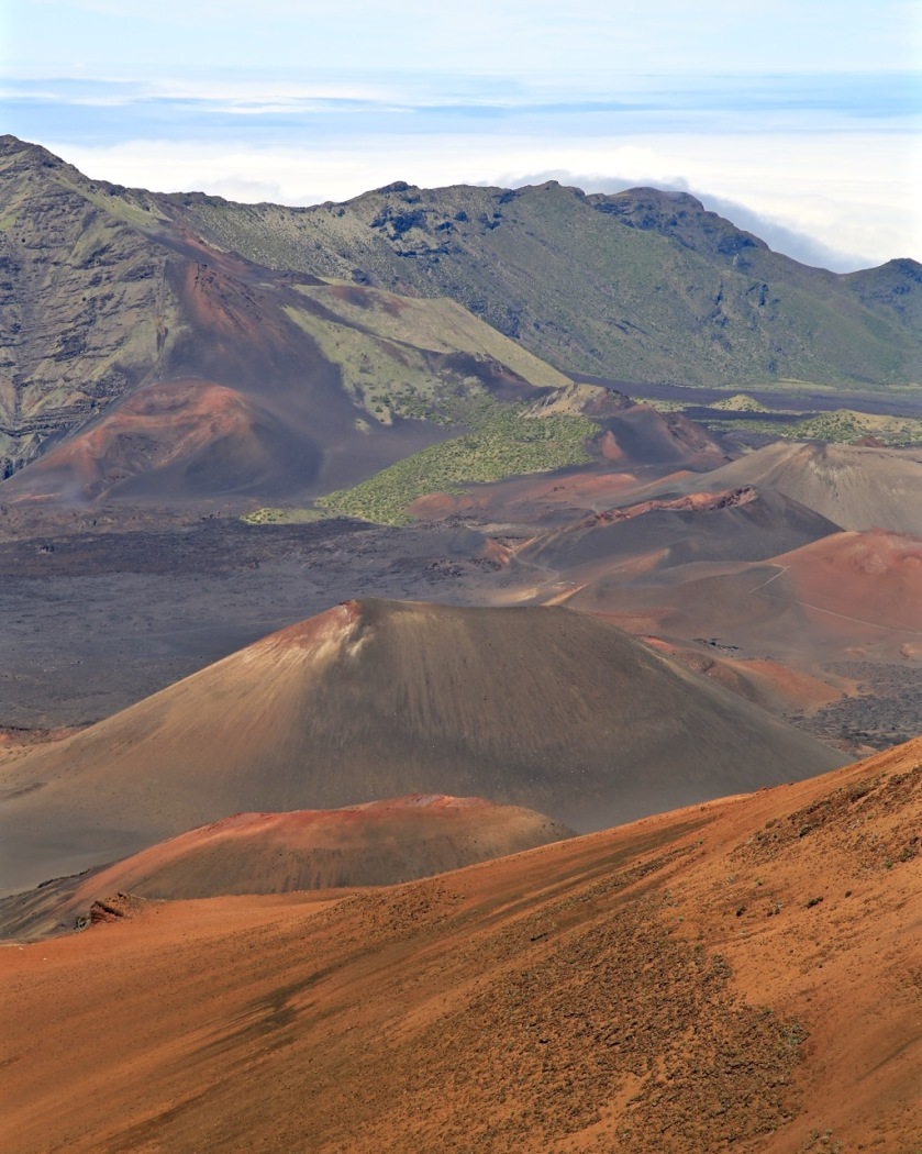 Volcanic cones in the Haleakala Crater, Maui, Hawaii