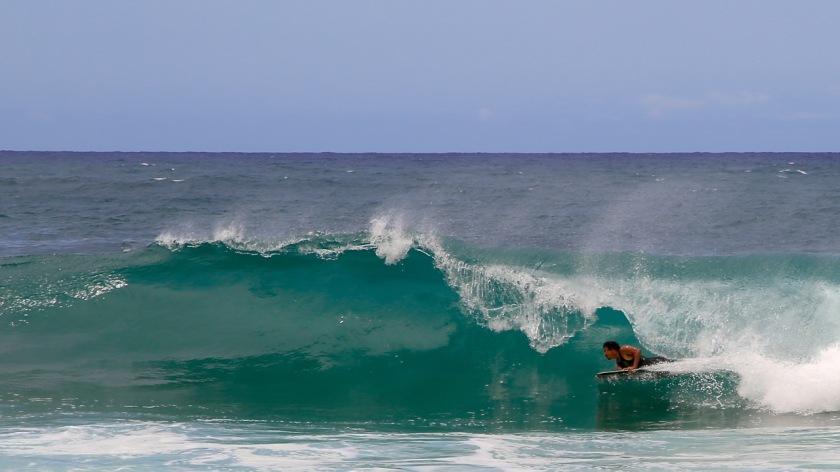 Body boarding on Kauai, Hawaii