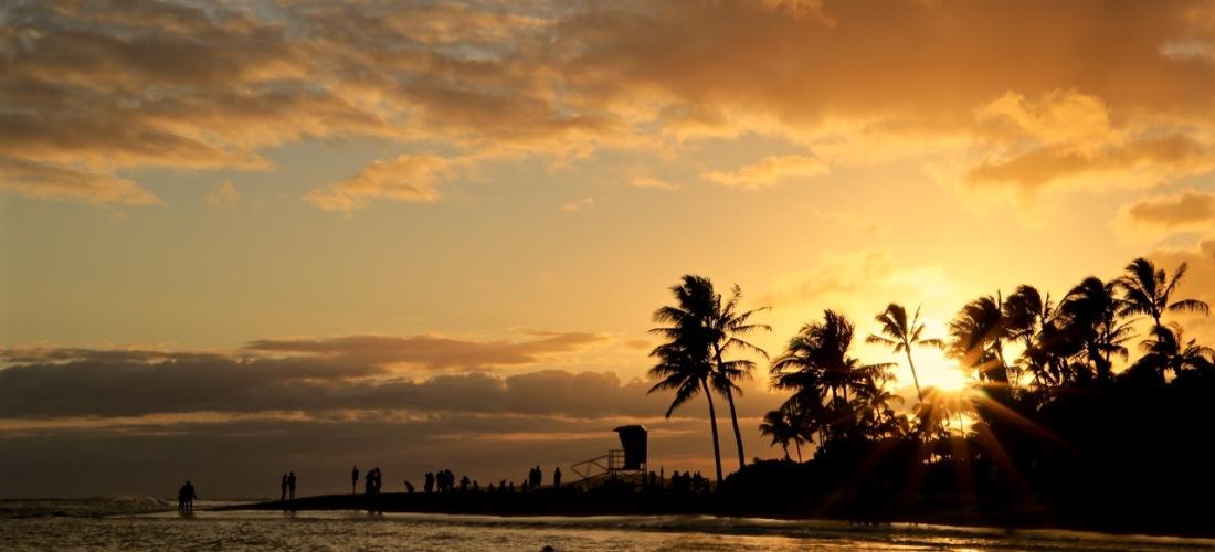 Sunset on Poipu Beach, Kauai, Hawaii