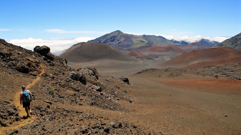 Hiking through the craters and cones of the Haleakala Crater on Maui, Hawaii at over 3,000m / 10,000ft.