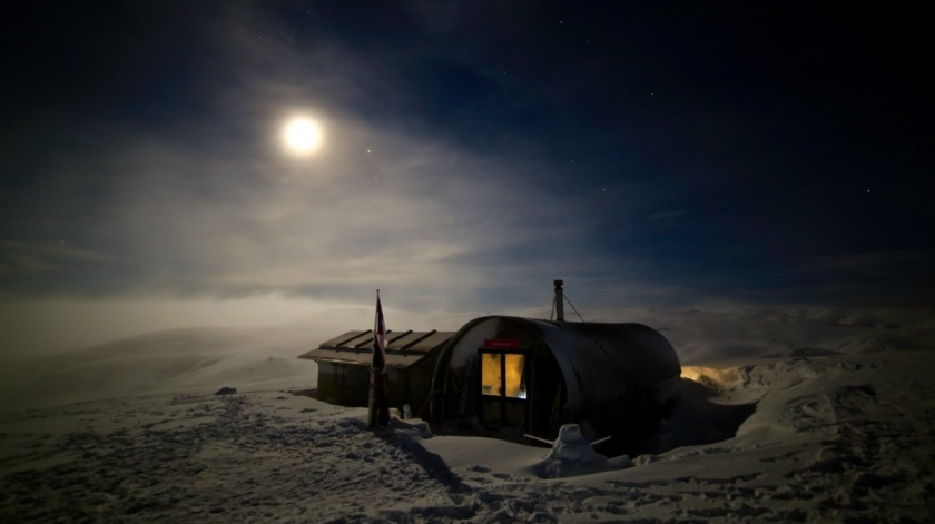 Bob Lee Hut under a full moon, Snow Farm Wanaka, New Zealand