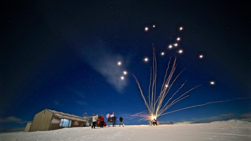 Fireworks at Bob Lee Hut, Snow Farm Wanaka, New Zealand