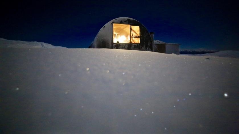 Bob Lee Hut under the night sky, Snow Farm Wanaka, New Zealand