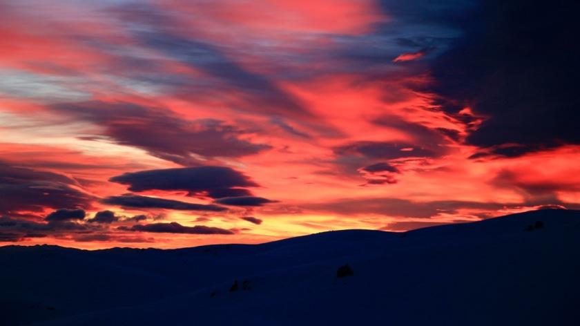 Sunrise over the Southern Alps, Snow Farm, Wanaka NZ