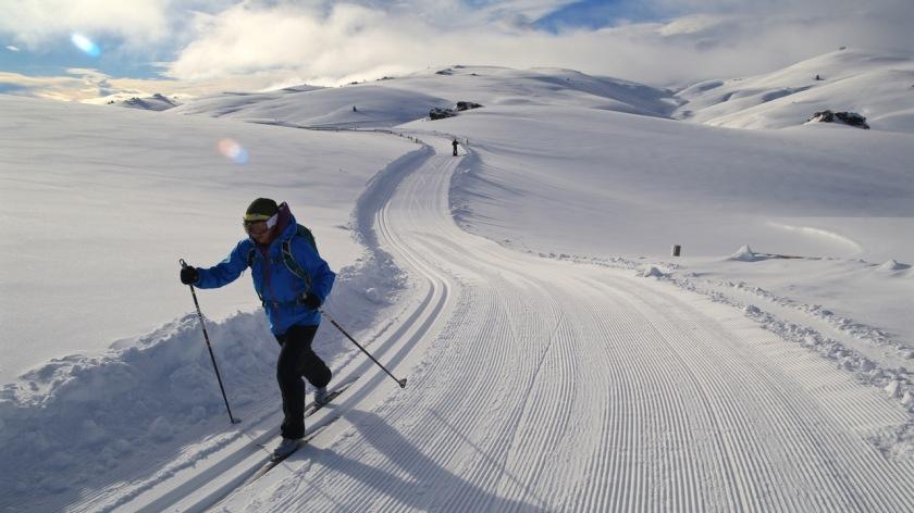 Cross country skiing at Snow Farm, Wanaka New Zealand