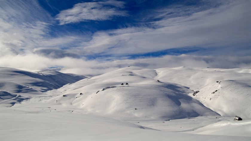 The Pisa Range in winter Snow Farm, Wanaka New Zealand