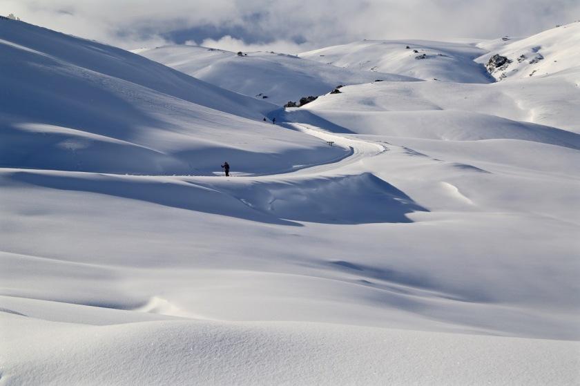 Cross country skier at Snow Farm, Wanaka New Zealand