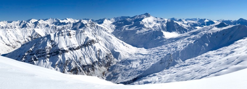Panorama of the NZ Southern Alps in winter. Wanaka New Zealand.