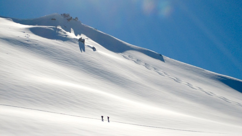 Ski touring at Treble Cone, Wanaka, New Zealand
