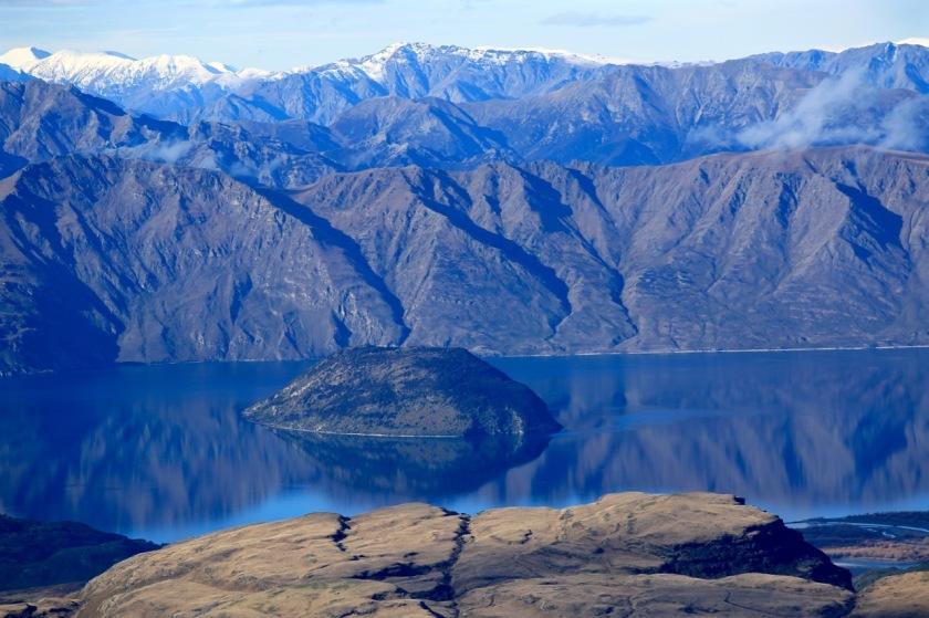 Mountain reflections in Lake Wanaka NZ from Treble Cone