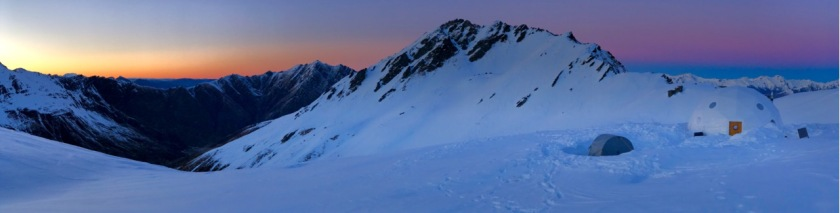 Panoramic sunrise over the Southern Alps near Wanaka, New Zealand