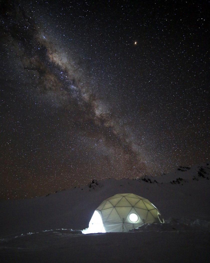 The milky way over a ski-touring camp in the Southern Alps near Wanaka, New Zealand
