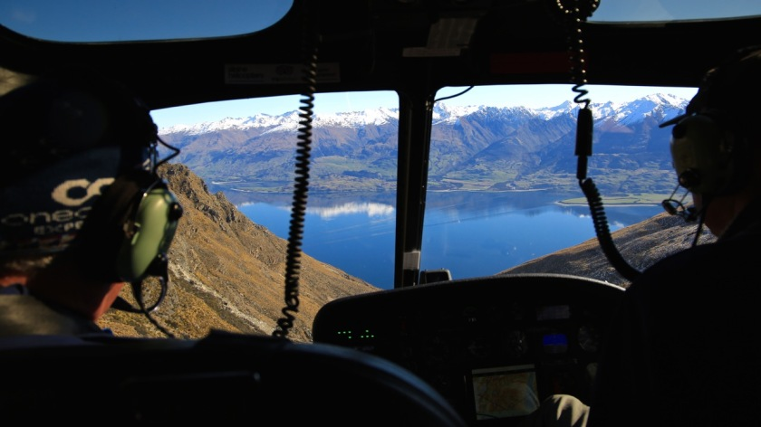 View of Lake Wanaka from a helicopter