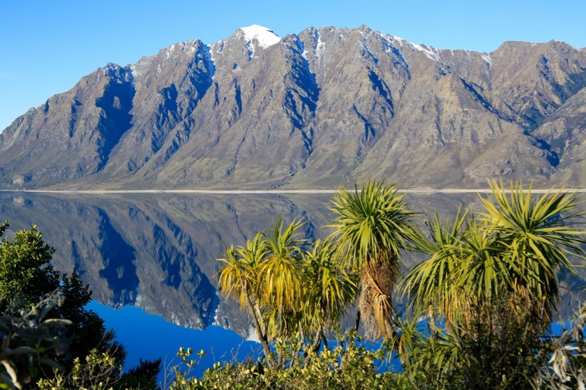 Mountain reflections in Lake Hawea, New Zealand