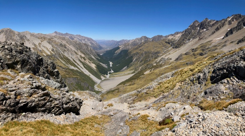 Panorama of Canyon Creek, Southern Alps, New Zealand