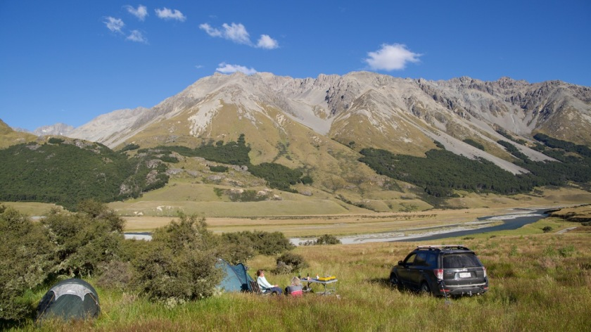 Camping in the mountains of the Southern Alps, New Zealand
