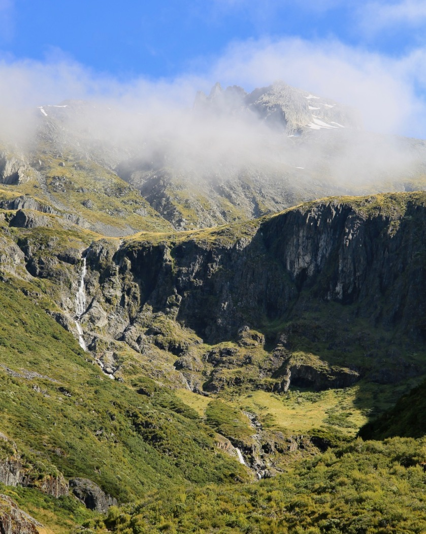 Hiking in the mountains of the Southern Alps, New Zealand