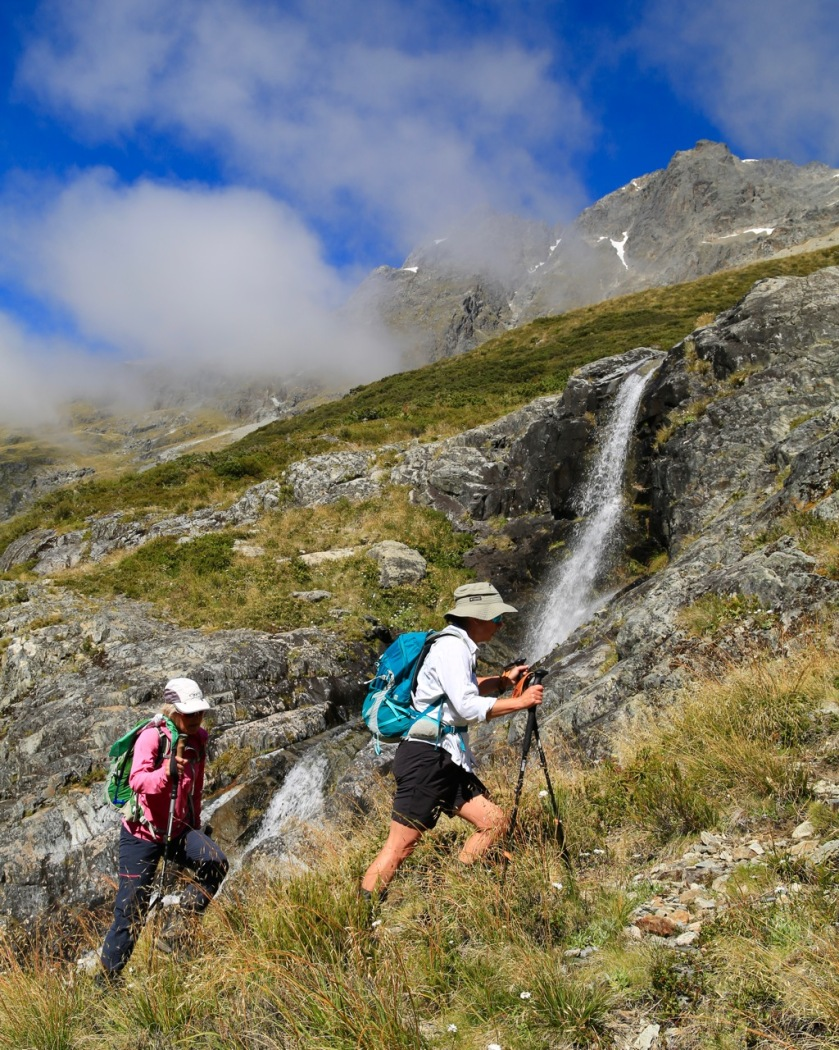 Hiking high in the mountains of the Southern Alps, New Zealand