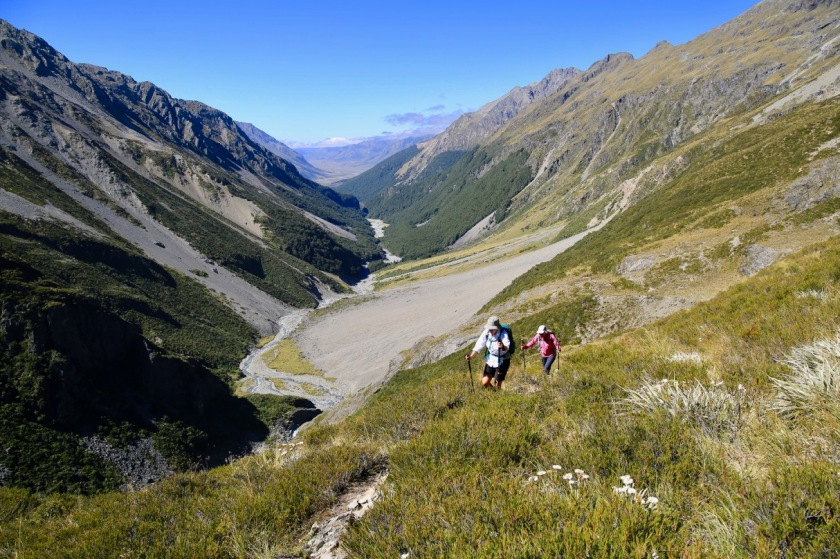 Tramping high in the mountains of the Southern Alps, New Zealand