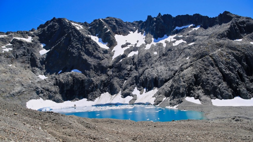 A glacial lake high in the mountains of the Southern Alps, New Zealand