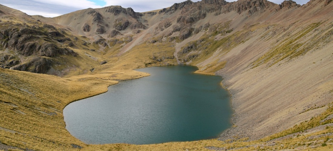 Dumb Bell Lake near Lake Ohau in the Southern Alps NZ
