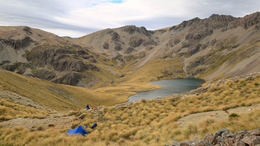Camping in the Southern Alps near Lake Ohau New Zealand
