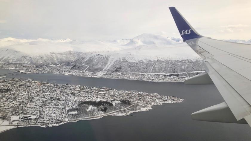 Aerial view of Tromso, Northern Norway in winter
