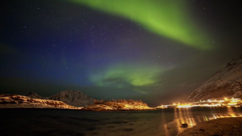 Aurora Borealis Northern Lights over Bergsfjord Northern Norway
