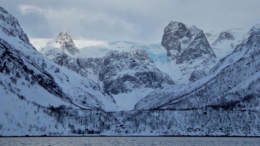 Glacier in Northern Norway Fjord, Arctic Circle