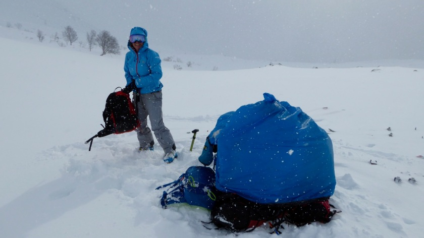 Sheltering from a storm in a bothy bag in Northern Norway