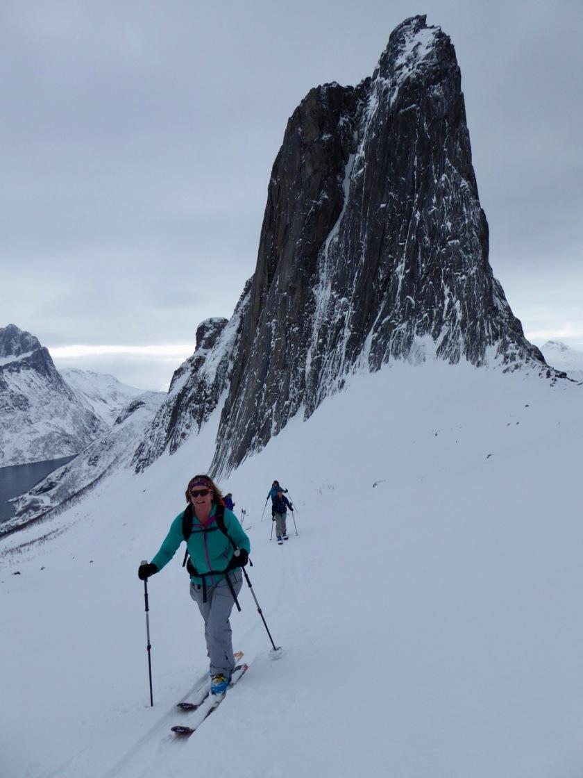 Ski touring in the shadow of Segla Peak, Senja Norway