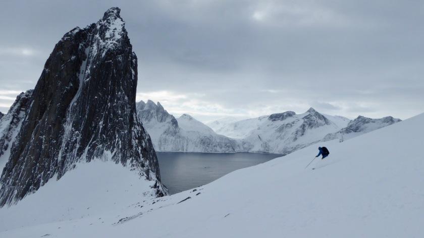 Skier and Segla peak, Northern Norway
