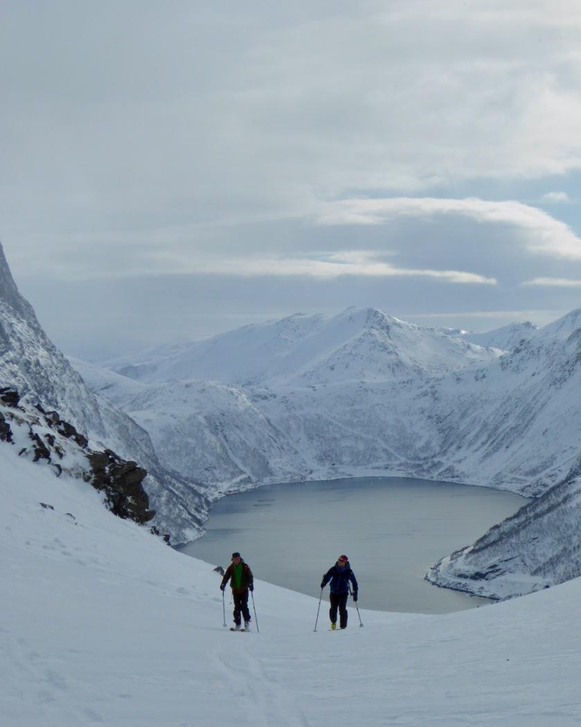 Ski touring near Fjordgård in Northern Norway
