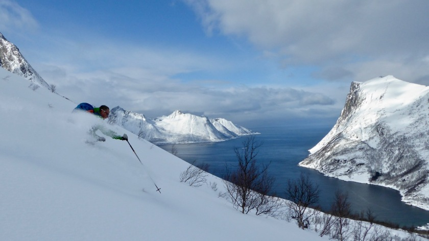 Skier in deep powder in the fjords of Northern Norway.