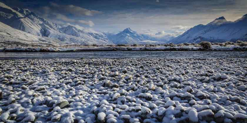 Winter panorama of Aoraki Mt Cook with fresh snow