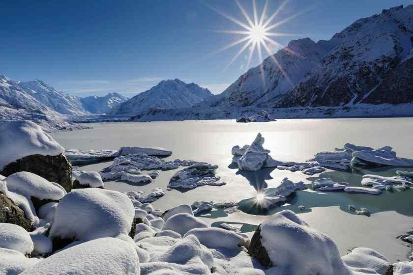 Fresh now and icebergs on the Tasman Glacier Lake Mount Cook New Zealand