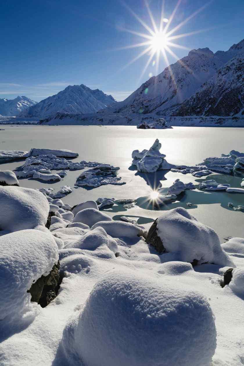 Icebergs drift in the frozen waters of the Tasman Glacier Lake.