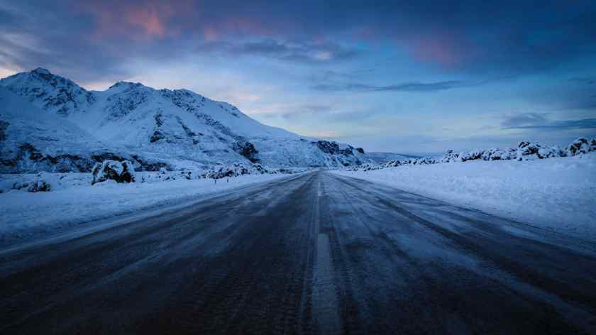 Black ice on the main road in Mt Cook National Park New Zealand