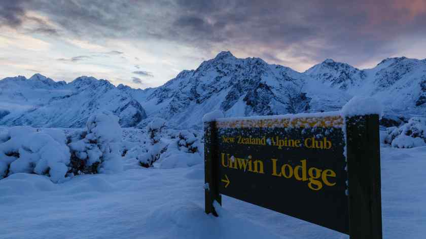 Sunrise and fresh snow Mt Cook National Park