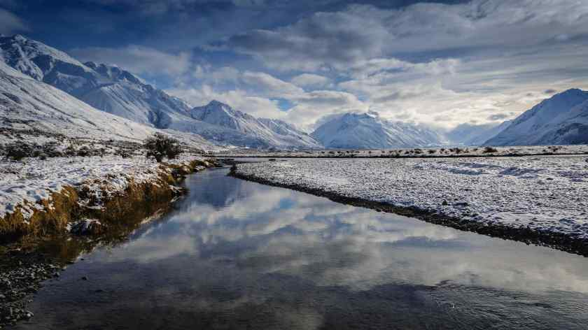 The Tasman River meanders through the frozen landscape of Mount Cook National Park.