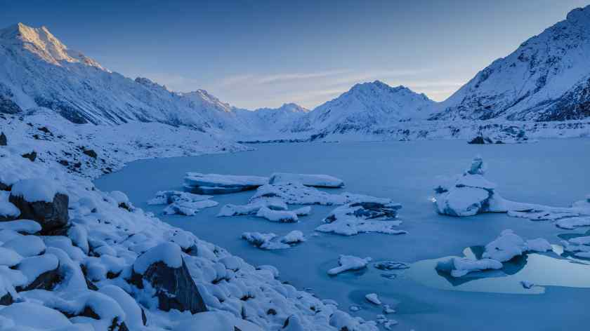 The Tasman Glacier Lake shrouded in a blanket of thick snow. Mount Cook National Park.