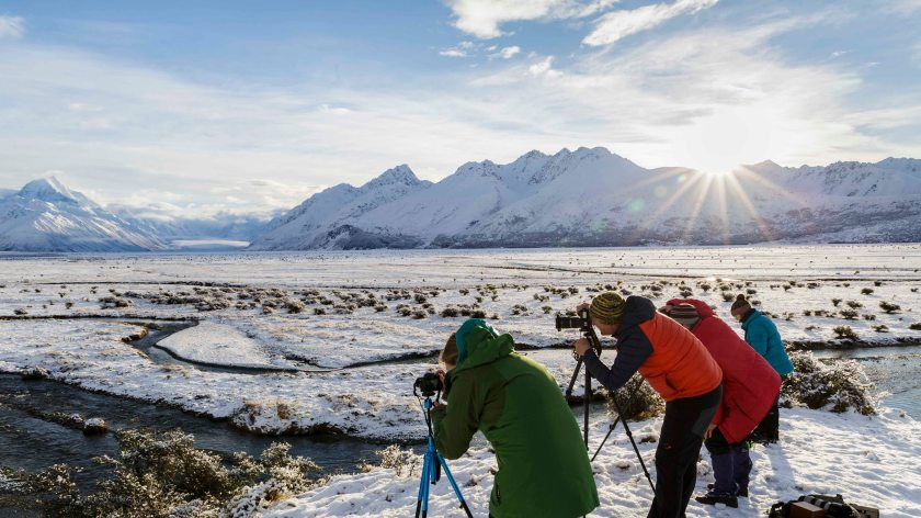 Photographers in winter at Mt Cook New Zealand